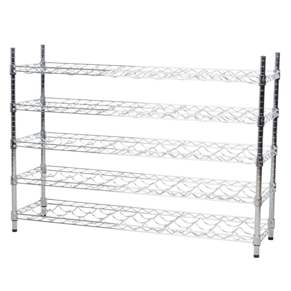 Regency 14 inch x 48 inch 5 Shelf Wire Wine Rack with 34 inch Posts