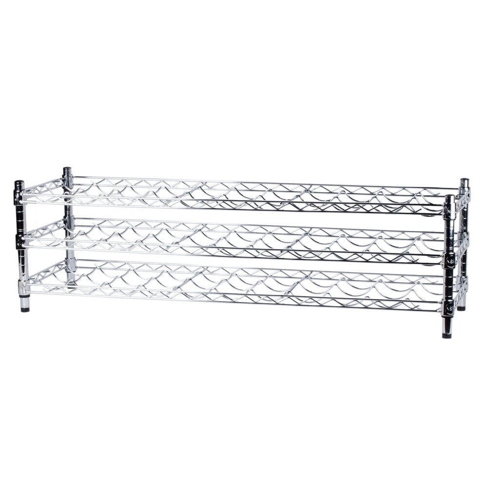 Regency 14 inch x 48 inch 3 Shelf Wire Wine Rack with 14 inch Posts