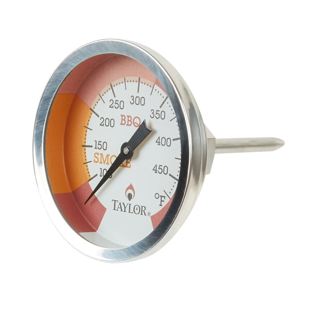 Grill thermometer with color-coded zones