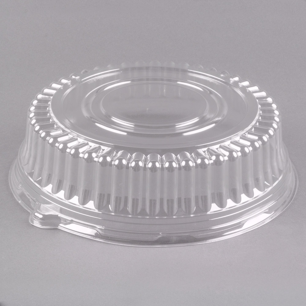 Visions 12 Inch Clear Pet Plastic Round Catering Tray High Dome Lid 25 Case