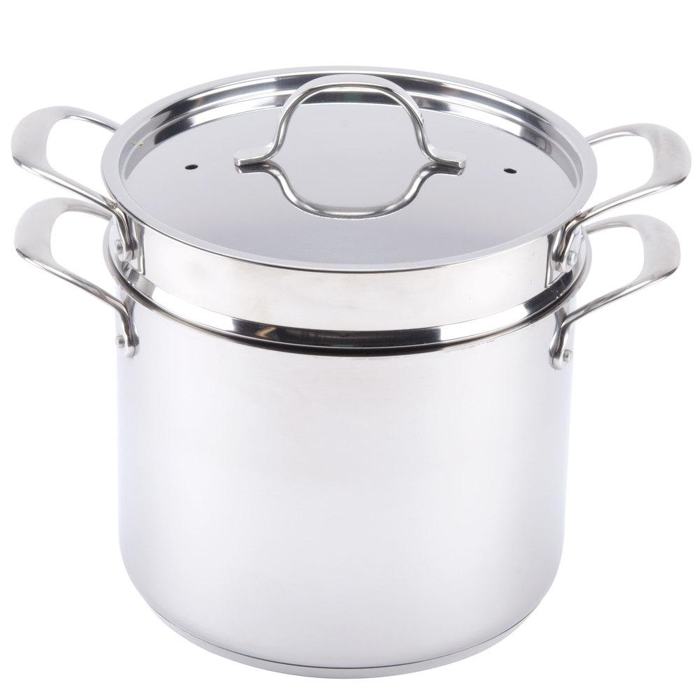 8 Qt Self Draining Stainless Steel Pasta Cooker Steamer