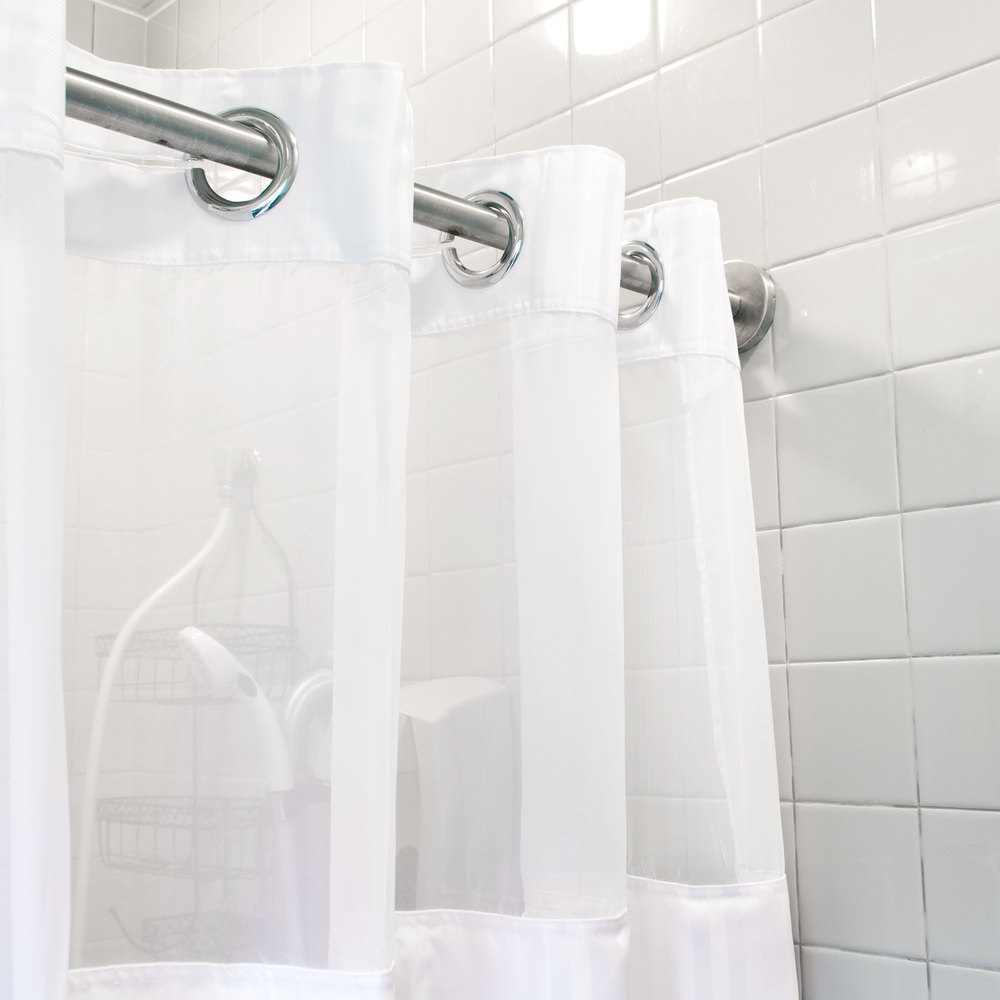 Hookless Hbh53dtb01cr White Double H Shower Curtain With
