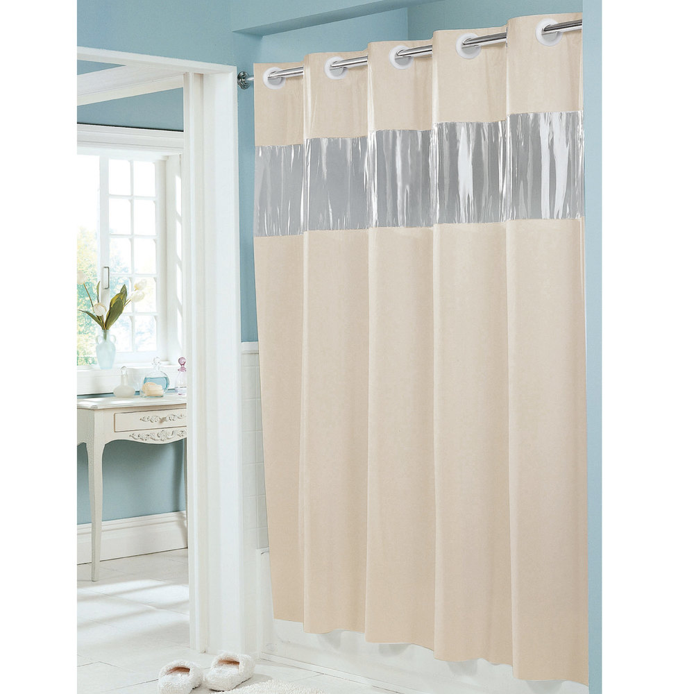 Details About New Hookless Shower Curtain Beige 71 X 74 Vinyl Vision See Thru Window 8 Gauge