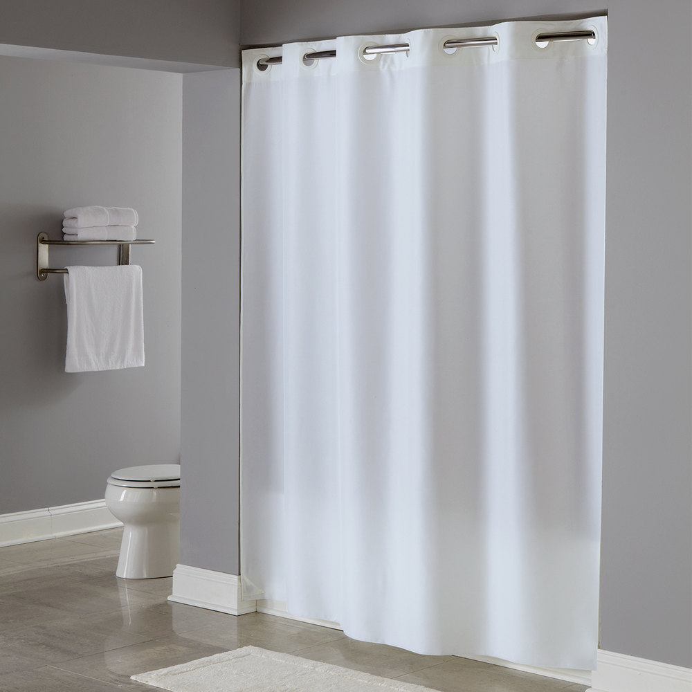 Hookless HBH40PLW01 White Plainweave Shower Curtain With Matching Flat  Flex On Rings And Weighted Corner ...