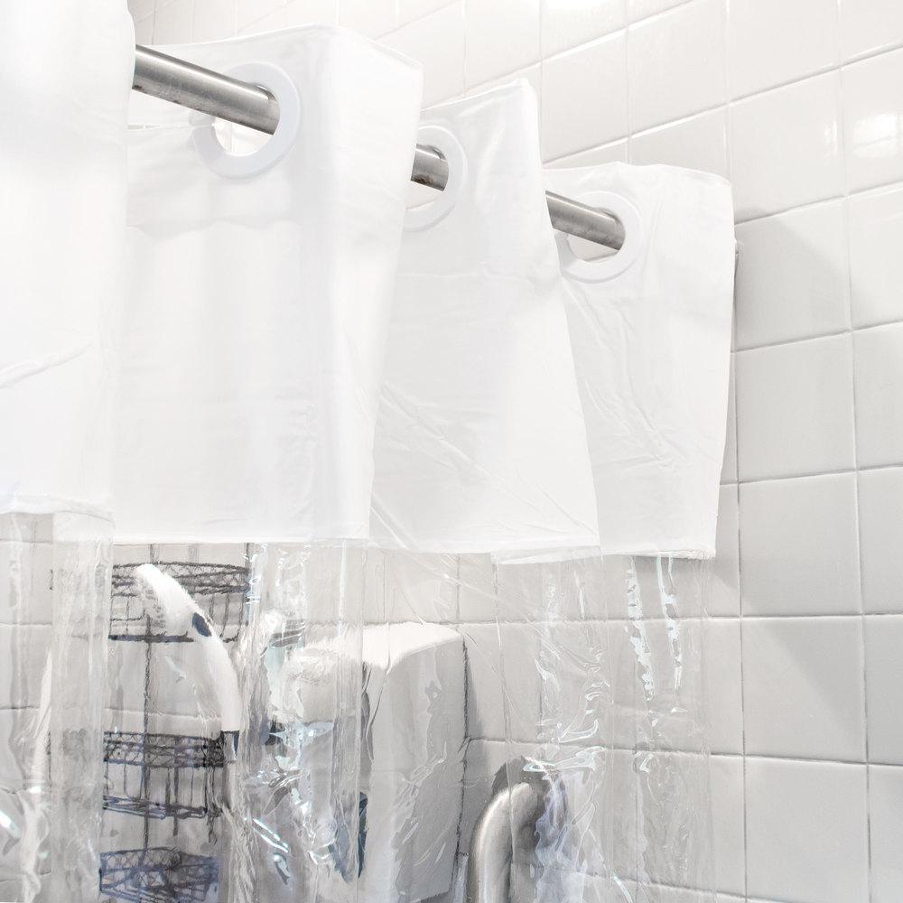 Hookless HBH08VIS01 White 8-Gauge Vision Shower Curtain with Vinyl ...