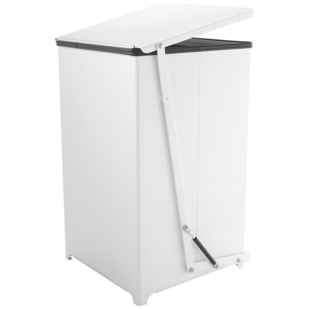 Rubbermaid Commercial Defenders Square Quiet Step Can 40 gal PL Liner Sky White