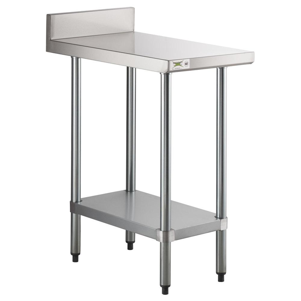 Regency 30 inch x 18 inch 18-Gauge 304 Stainless Steel Equipment Filler Table with Backsplash and Galvanized Undershelf