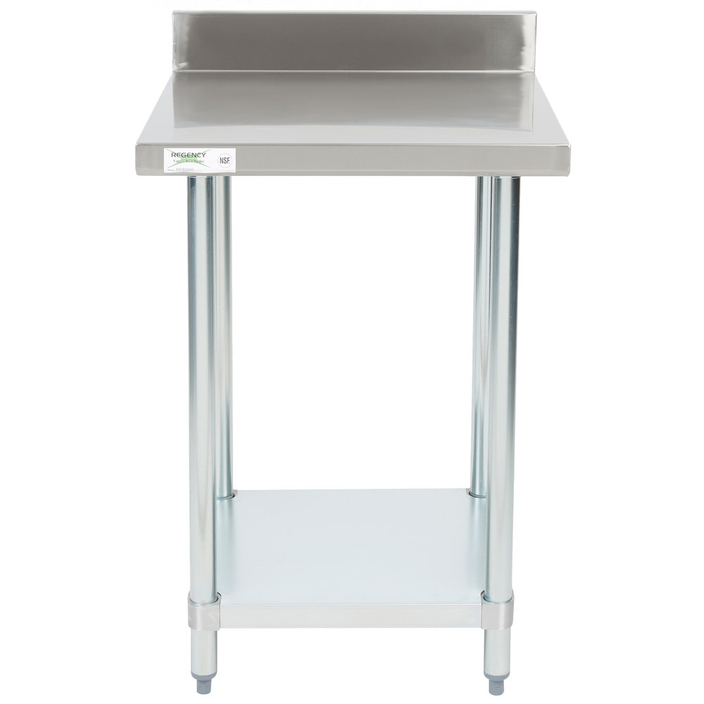 Regency 24 inch x 24 inch 18-Gauge 304 Stainless Steel Commercial Work Table with 4 inch Backsplash and Galvanized Undershelf