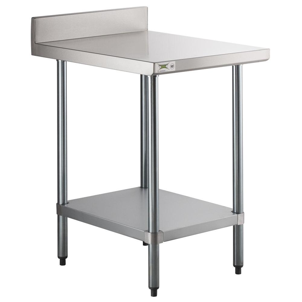 Regency 30 inch x 24 inch 18-Gauge 304 Stainless Steel Equipment Filler Table with Backsplash and Galvanized Undershelf
