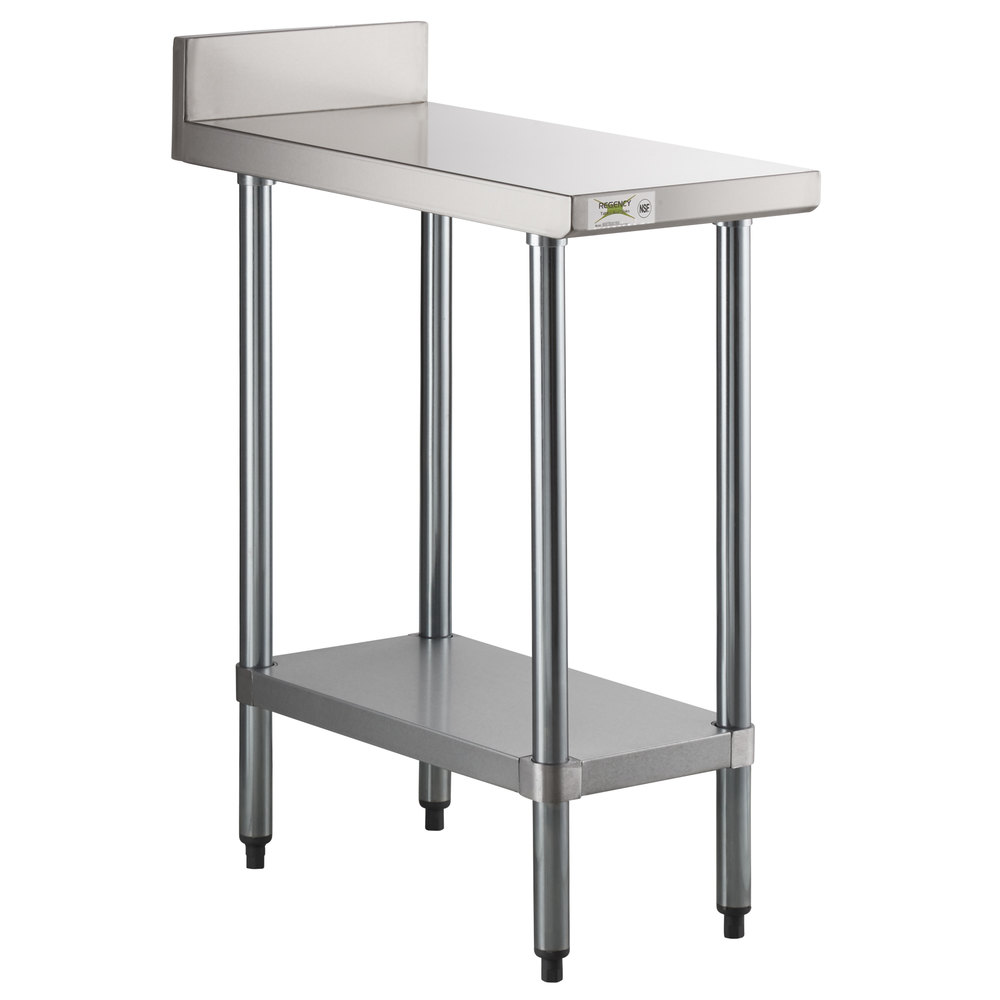 Regency 30 inch x 15 inch 18-Gauge 304 Stainless Steel Equipment Filler Table with Backsplash and Galvanized Undershelf