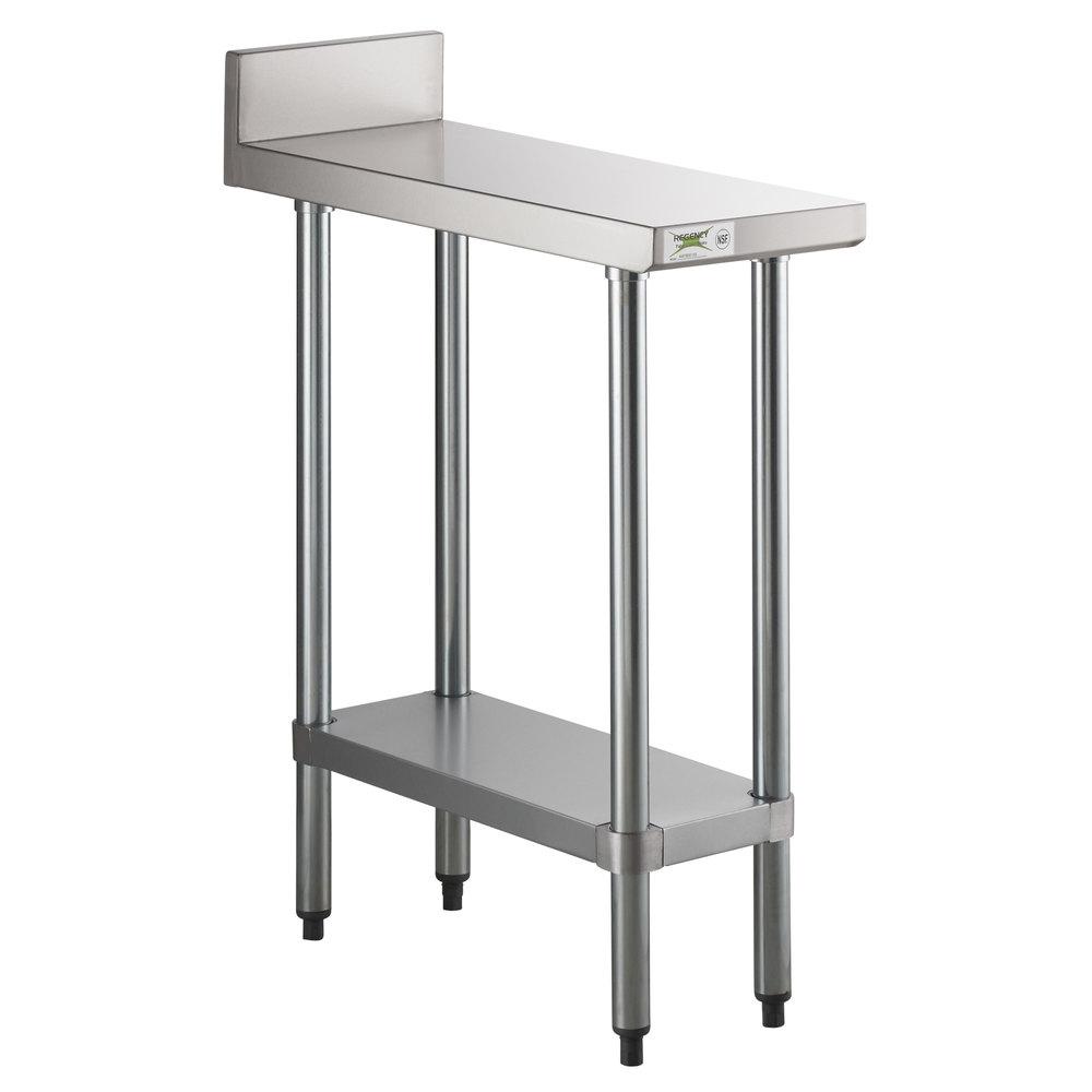 Regency 30 inch x 12 inch 18-Gauge 304 Stainless Steel Equipment Filler Table with Backsplash and Galvanized Undershelf