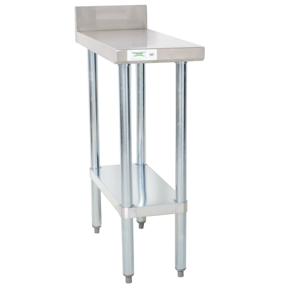 Regency 30 inch x 12 inch 18-Gauge 304 Stainless Steel Equipment Filler Table with Backsplash and Galvanized Undershelf
