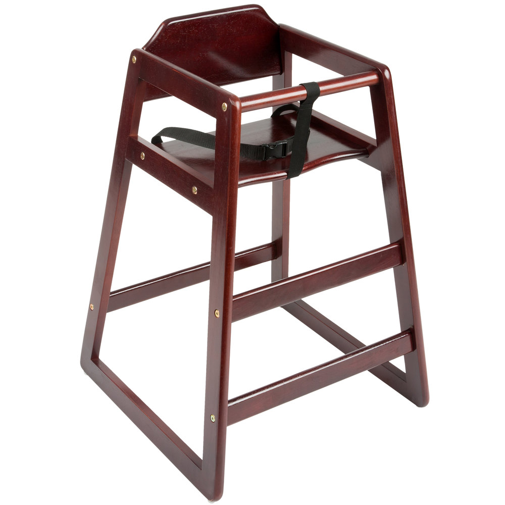 Stacking Restaurant Wood High Chair with Dark Brown Finish ...
