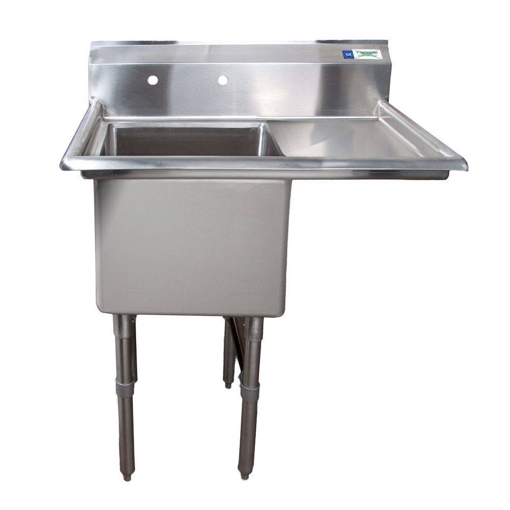 Right Drainboard Regency 38 1/2 inch 16-Gauge Stainless Steel One Compartment Commercial Sink with 1 Drainboard - 18 inch x 18 inch x 14 inch Bowl