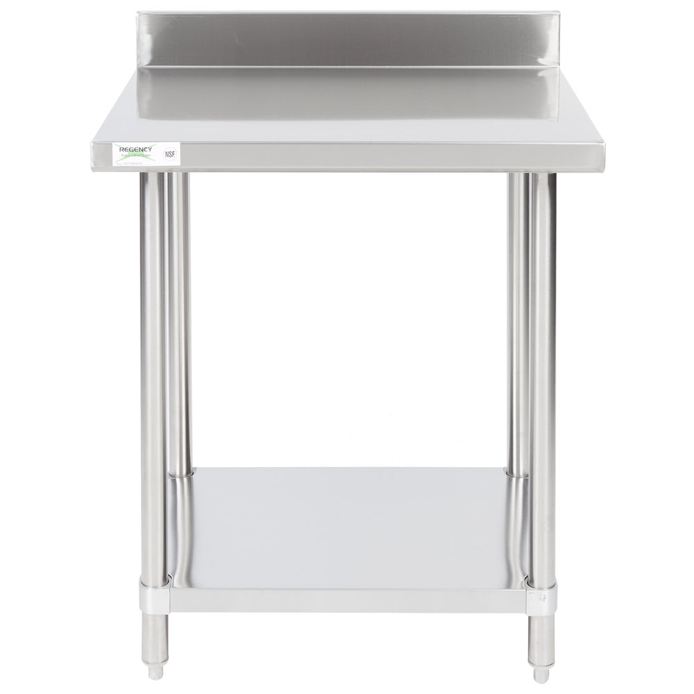 Regency 24 inch x 30 inch 16-Gauge Stainless Steel Commercial Work Table with 4 inch Backsplash and Undershelf