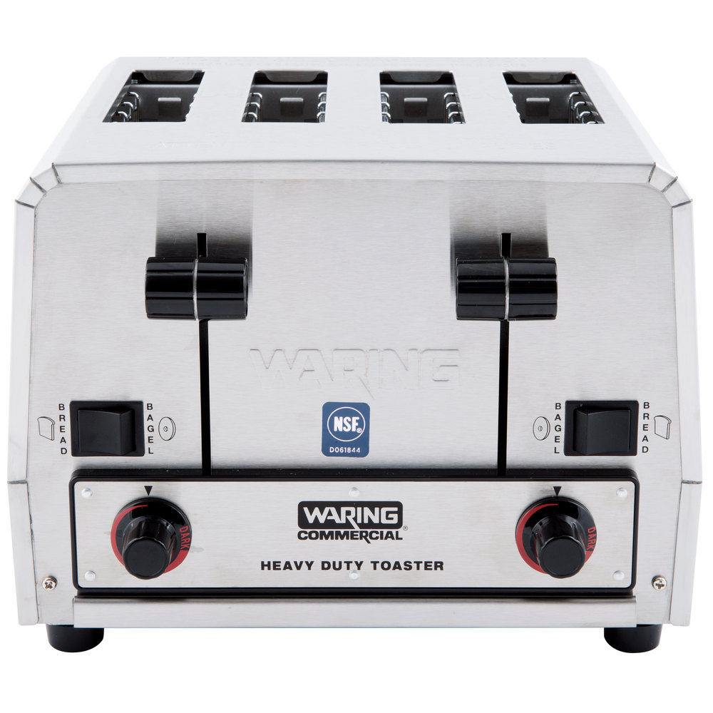 black and silver four slot pop-up toaster labeled heavy duty