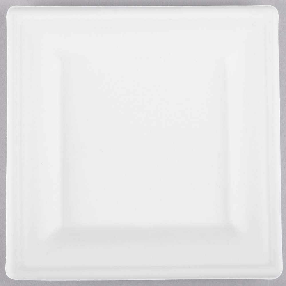 EcoChoice Biodegradable Compostable Sugarcane / Bagasse 6 inch x 6 inch Square Plate - 400  sc 1 st  WebstaurantStore & EcoChoice Biodegradable Compostable Sugarcane / Bagasse 6