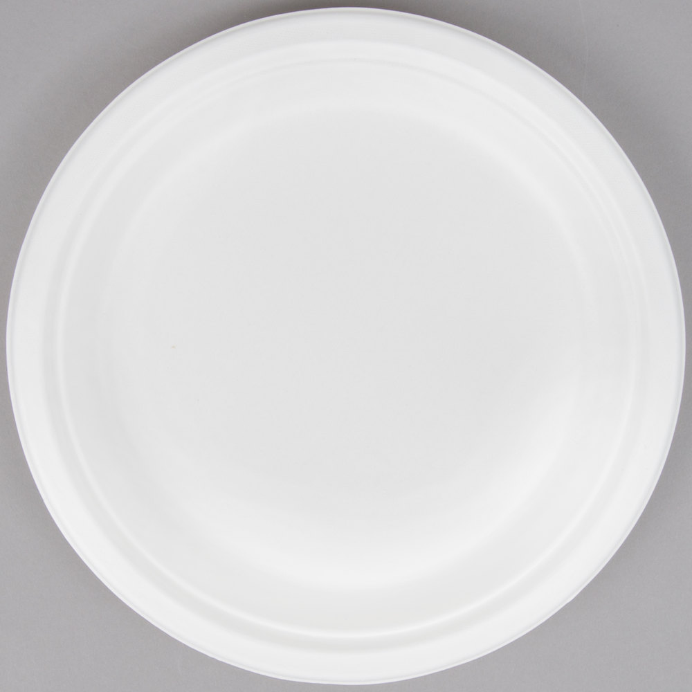 EcoChoice Biodegradable Compostable Sugarcane / Bagasse 9 inch Plate - 500/Case : compostable paper plates - Pezcame.Com