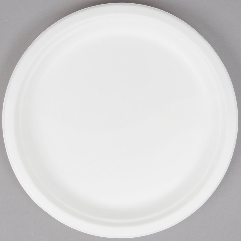 EcoChoice Biodegradable Compostable Sugarcane / Bagasse 10 inch Plate - 500/Case & EcoChoice Biodegradable Compostable Sugarcane / Bagasse 10