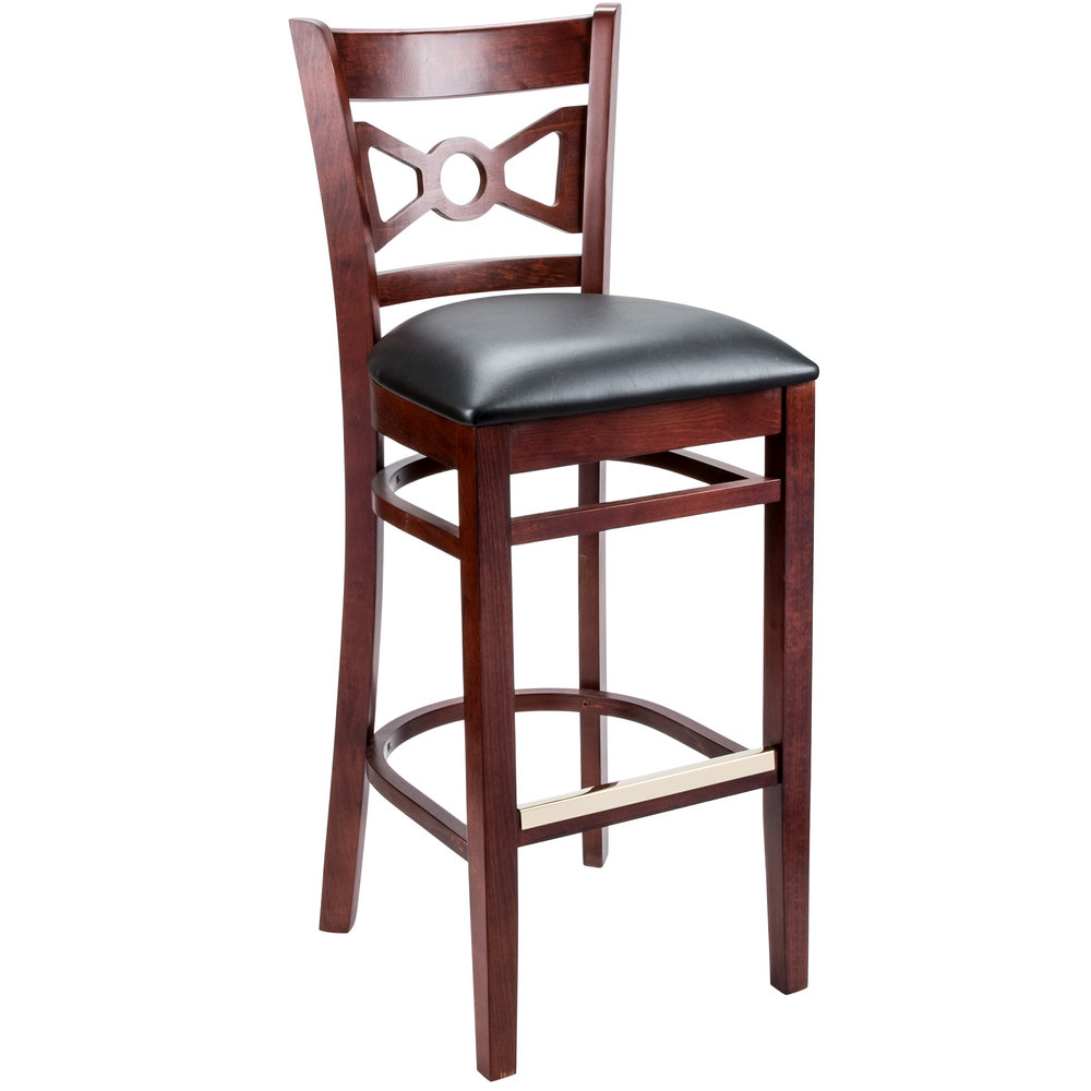 Lancaster Table U0026 Seating Mahogany Bow Tie Back Bar Height Chair With 2 1/2  ...