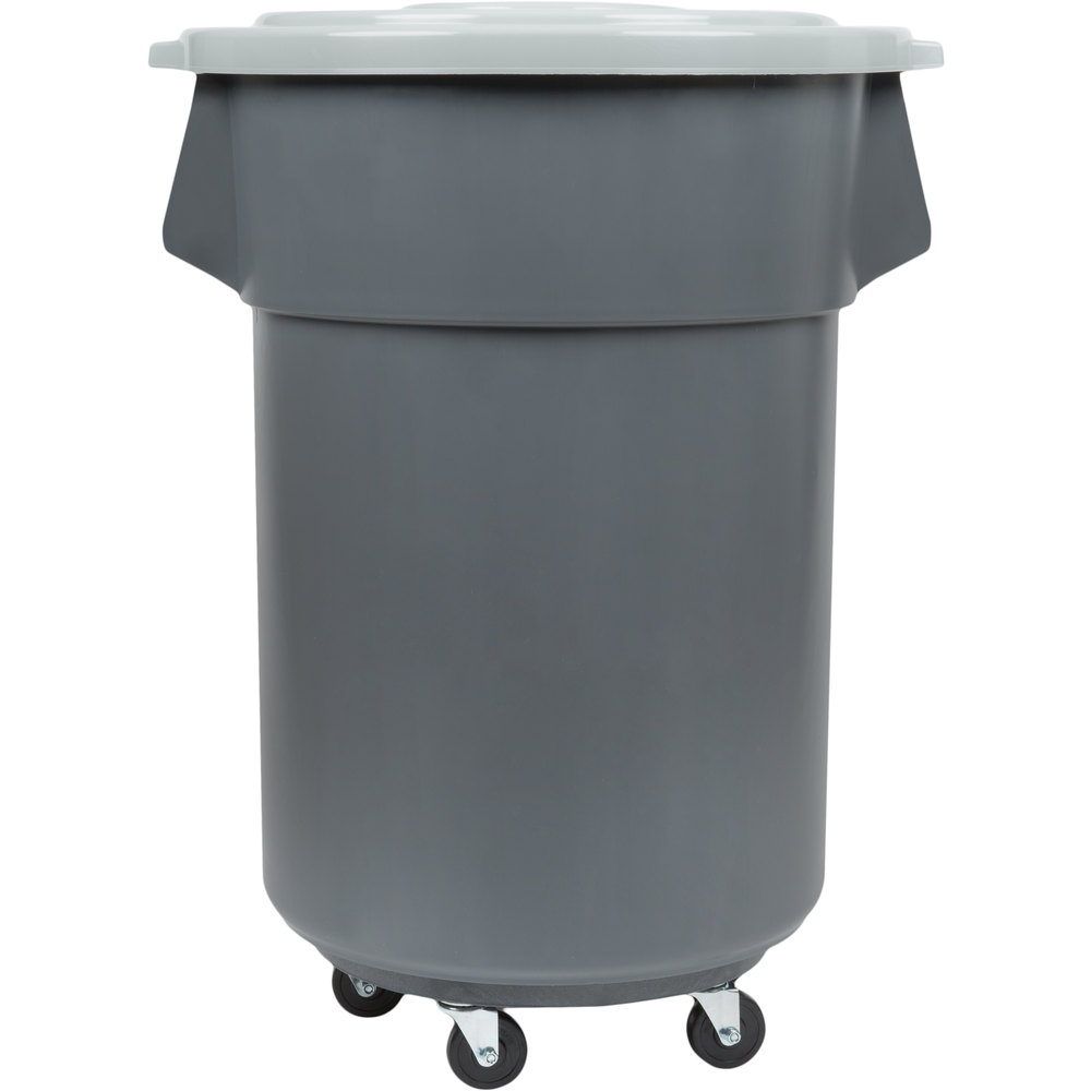 Colors Continental 44 Gallon Gray Trash Can Lid And Dolly Kit