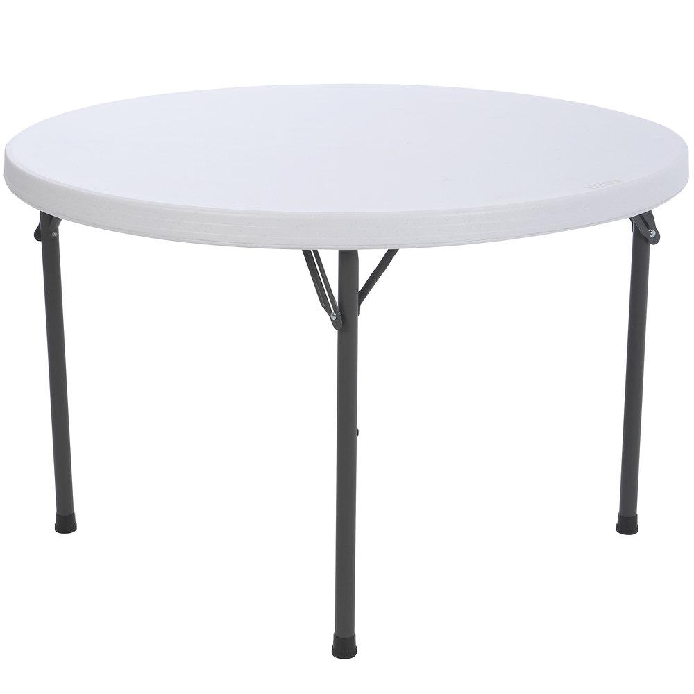 lifetime round folding table 46 plastic white granite 4 pack 42960. Black Bedroom Furniture Sets. Home Design Ideas