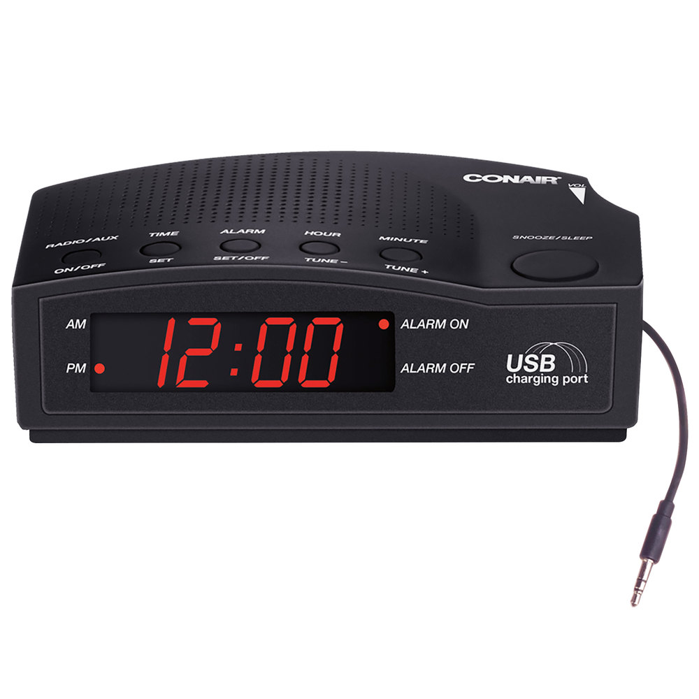 conair wcr14 alarm clock radio with usb charging port. Black Bedroom Furniture Sets. Home Design Ideas