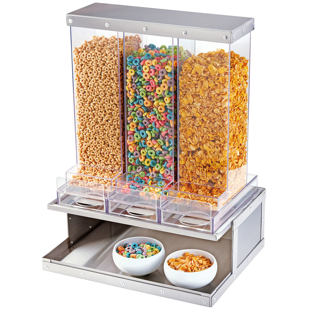 Cereal dispensers dry food dispensers dry product dispensers cal mil 3401 55 urban stainless steel 3 bin cereal dispenser ccuart Images
