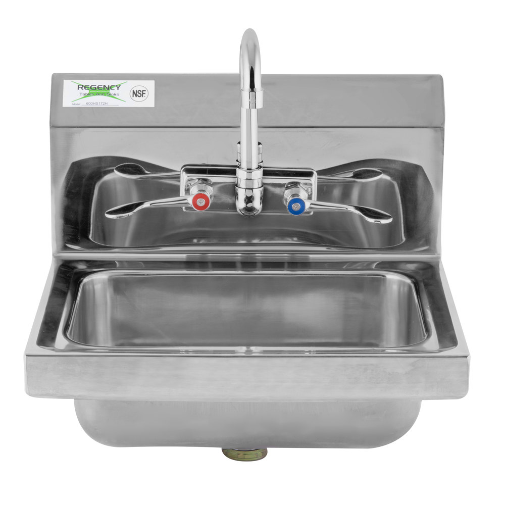 Regency 17 1/4 inch x 15 1/4 inch Wall Mounted Hand Sink with Gooseneck Faucet and Wrist Blades