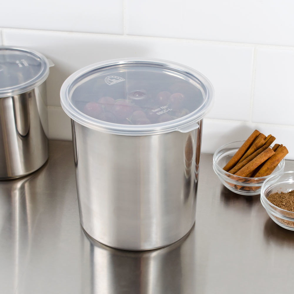 Stainless steel storage containers for kitchen -  2 7 Qt Stainless Steel Food Storage Container With Snap On Plastic Lid Main Picture Image