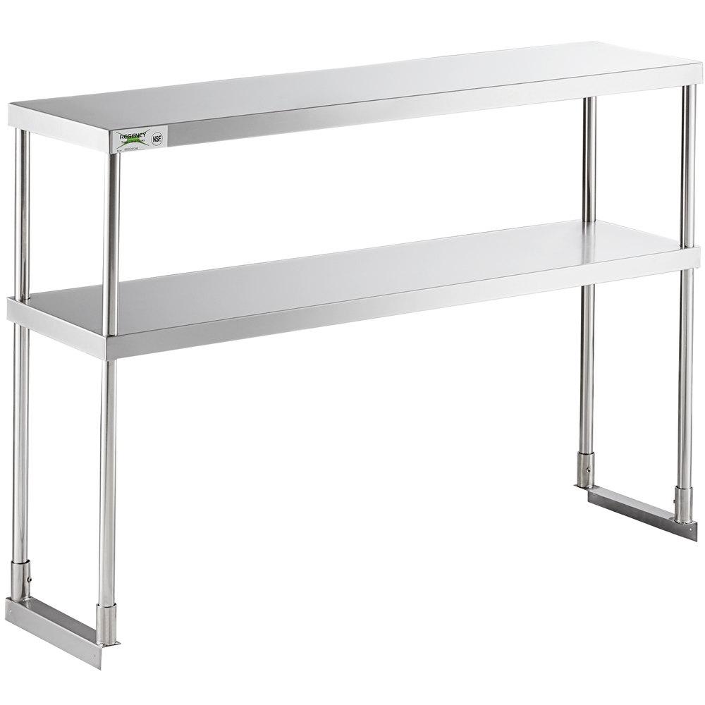 Regency Stainless Steel Double Deck Overshelf - 12 inch x 48 inch x 32 inch