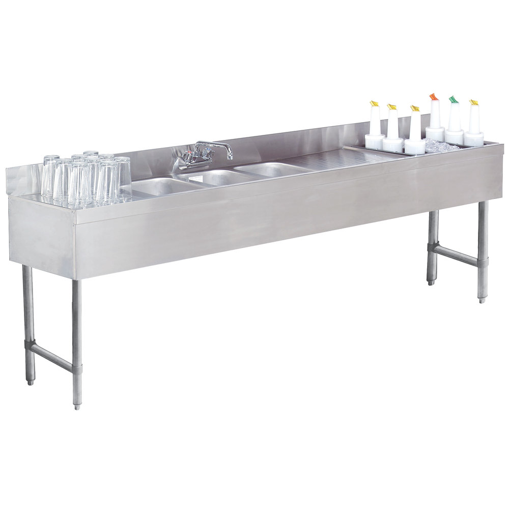 Advance Tabco SLC 83C R Three Compartment Stainless Steel Bar Sink And Ice  Bin