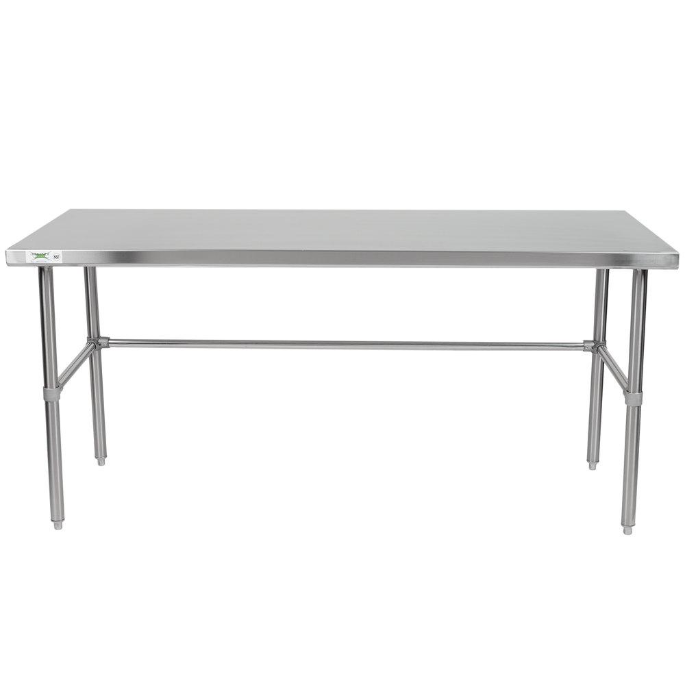 Regency 30 inch x 72 inch 16-Gauge 304 Stainless Steel Commercial Open Base Work Table