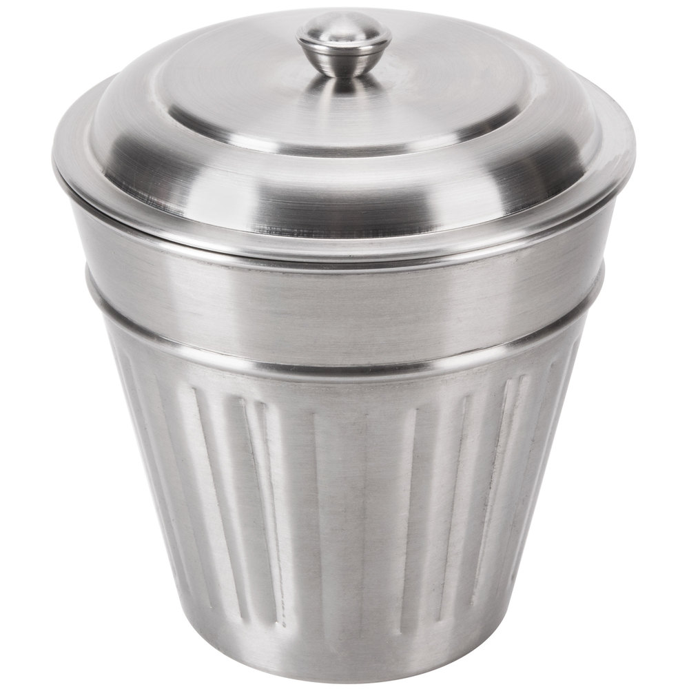 american metalcraft olid2 5 mini stainless steel trash can lid for oscar2. Black Bedroom Furniture Sets. Home Design Ideas