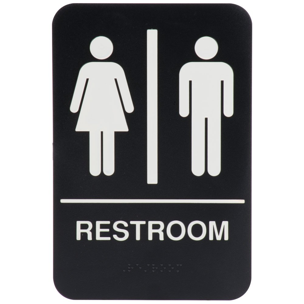 "Black and White Unisex Restroom Sign with Braille 9"" x 6"""