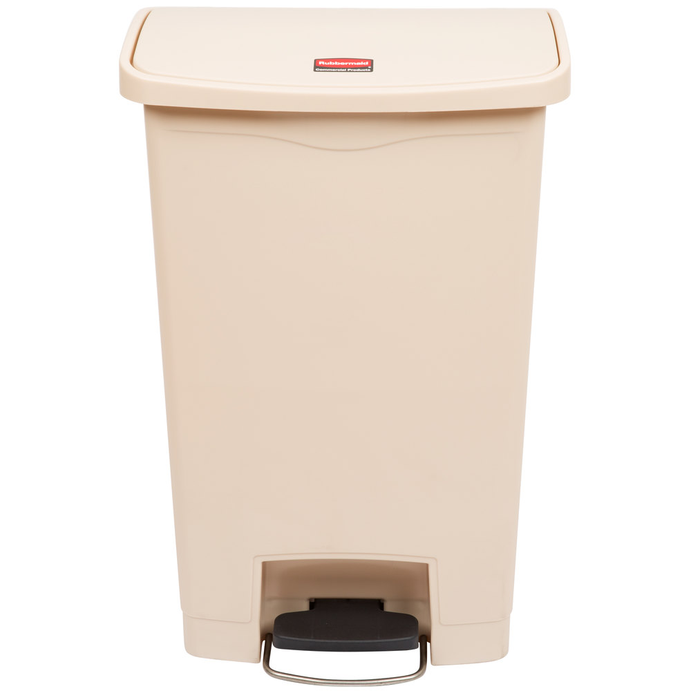 rubbermaid slim jim resin beige front stepon trash can 13 gallon