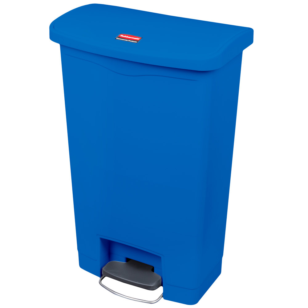 rubbermaid 1883593 slim jim resin blue front step on trash can 13 gallon. Black Bedroom Furniture Sets. Home Design Ideas