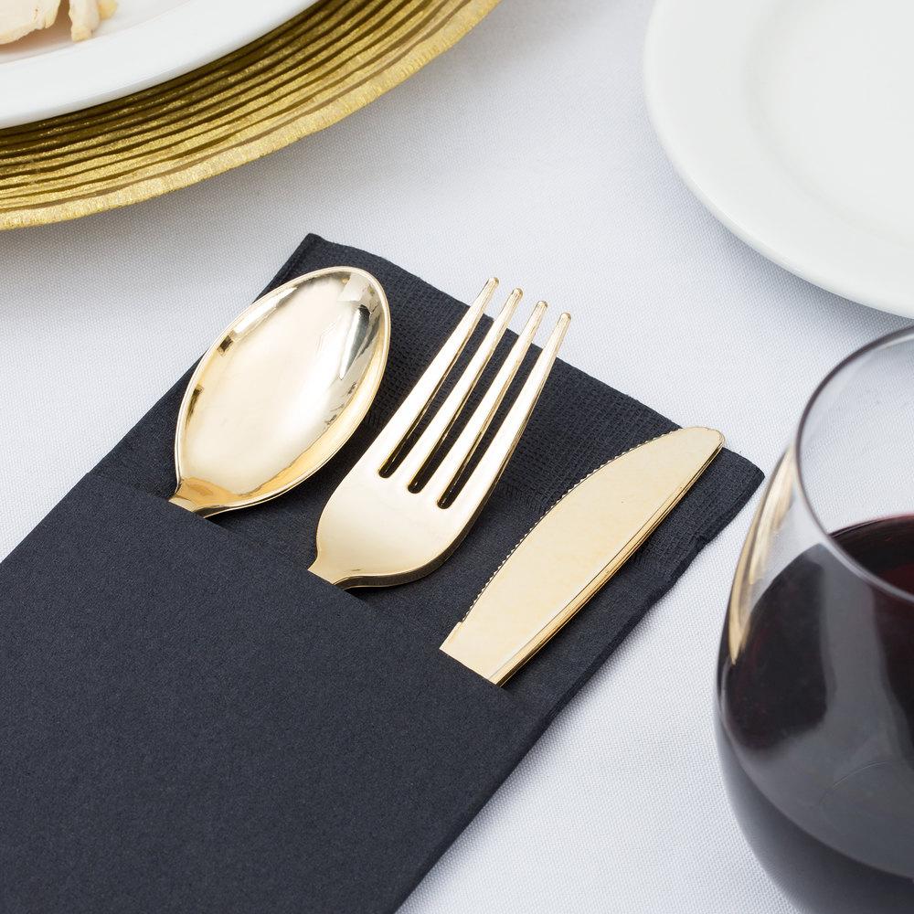 "Black Pocket Fold Dinner Napkin, Choice ReadyNap 15"" x 17 ..."
