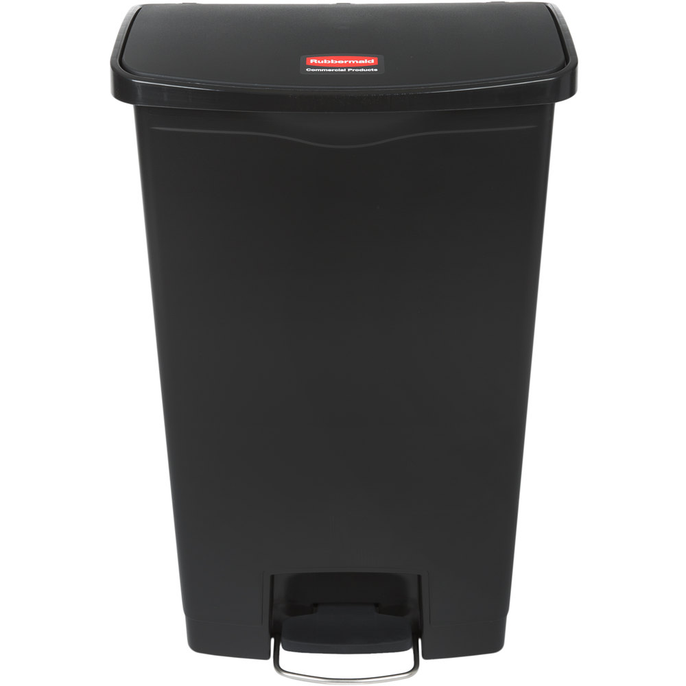 Rubbermaid 1883613 Slim Jim Resin Black Front Step On Trash Can   18 Gallon  ...