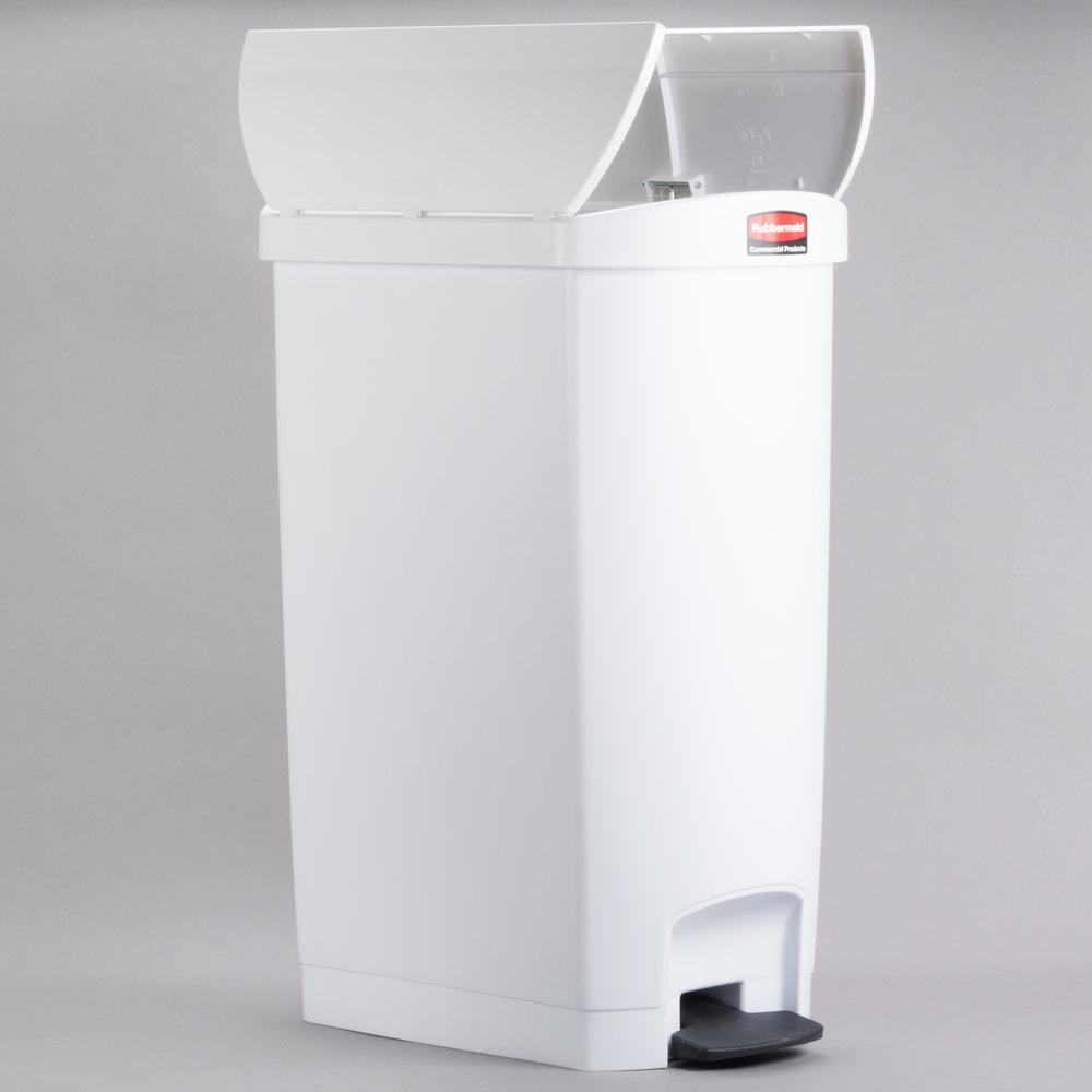 rubbermaid slim jim resin white end stepon trash can with rigid plastic liner 18 gallon - Slim Trash Can