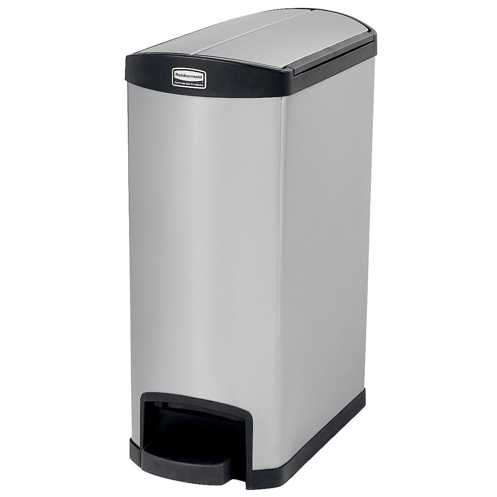 rubbermaid 1901993 slim jim stainless steel black accent end step on trash can with single rigid. Black Bedroom Furniture Sets. Home Design Ideas