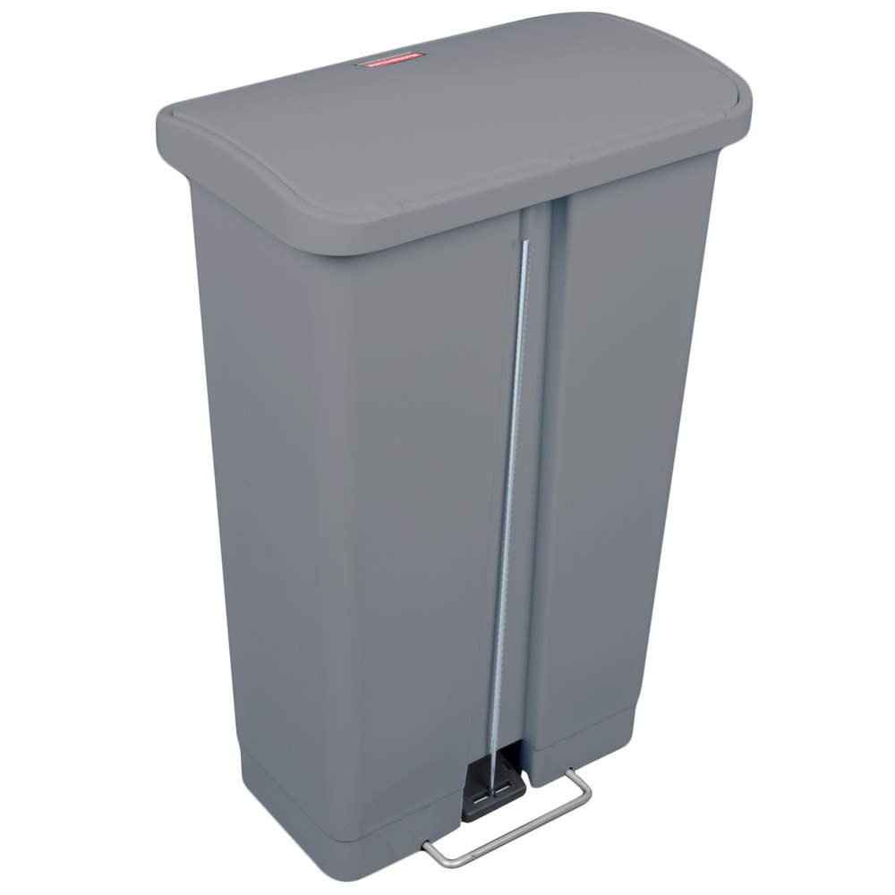 rubbermaid 1883602 slim jim resin gray front step on trash can 13 gallon. Black Bedroom Furniture Sets. Home Design Ideas