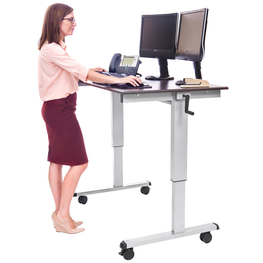 Luxor STANDUPCF48DW Adjustable Standing Desk with Silver Steel