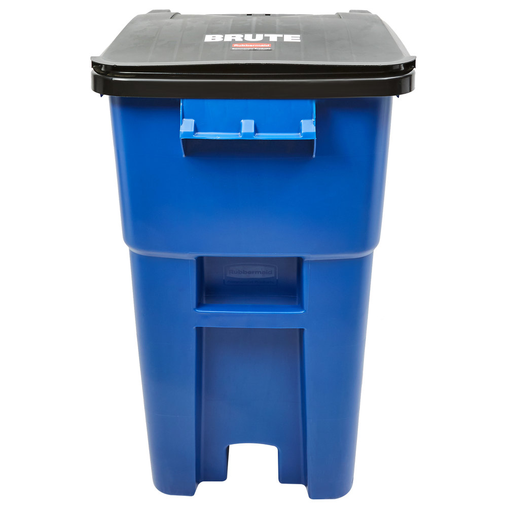 Rubbermaid FG9W2700BLUE Brute 50 Gallon Blue Rollout Trash Container With Lid
