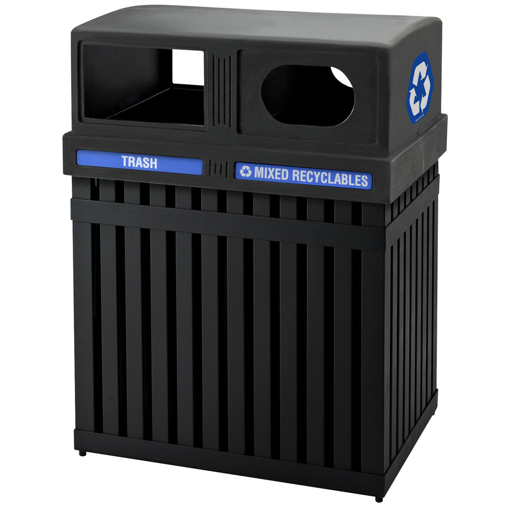 Commercial Zone 72720199 ArchTec Parkview 50 Gallon Black Double Trash    Recycling Receptacle with DecalsDecorative Outdoor Trash Cans. Decorative Outdoor Garbage Cans. Home Design Ideas