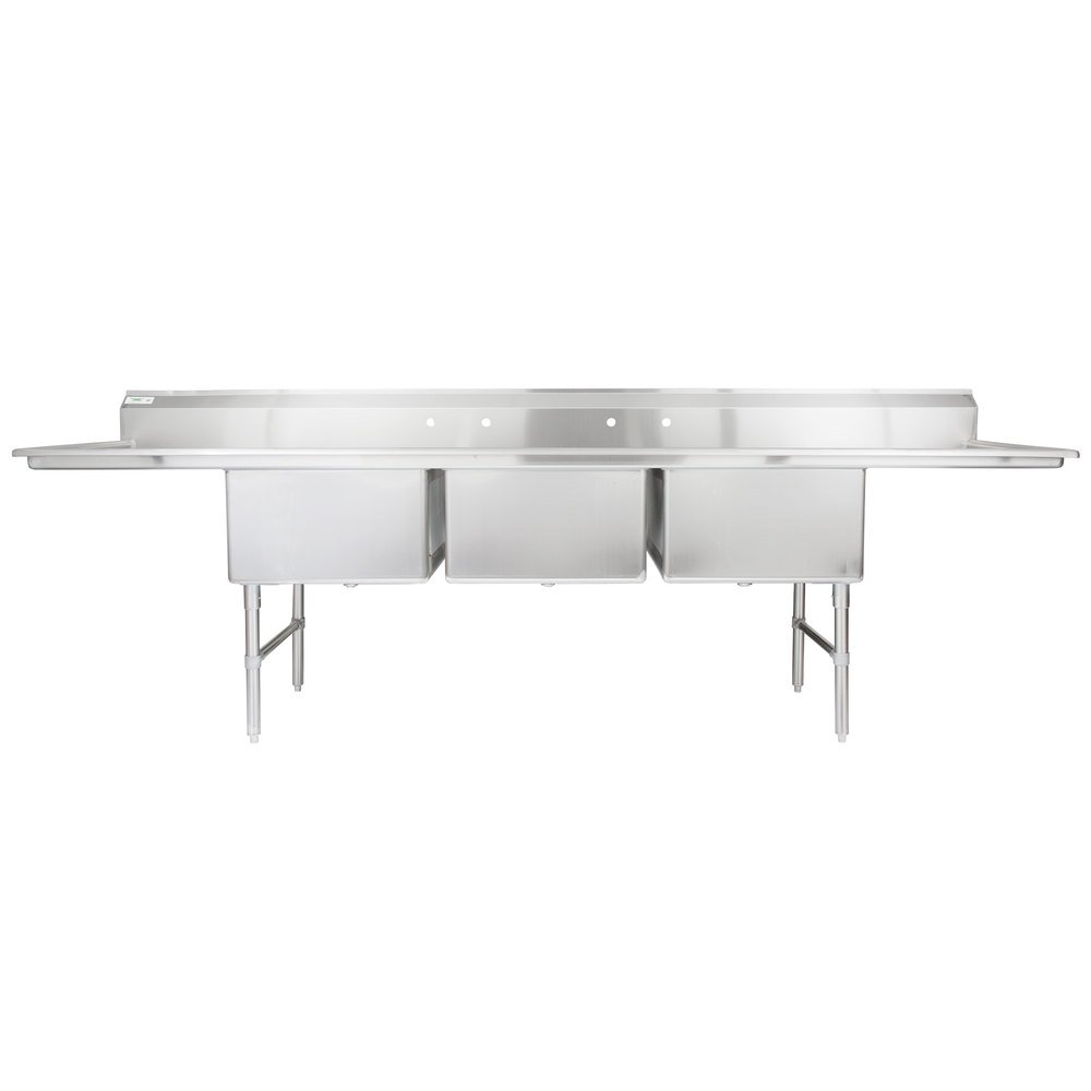 Regency 124 inch 16-Gauge Stainless Steel Three Compartment Commercial Sink with 2 Drainboards - 24 inch x 24 inch x 14 inch Bowls