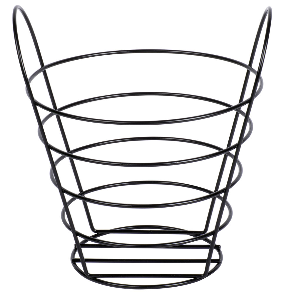 American Metalcraft BWB970 Round Black Wire Basket with Handles ...