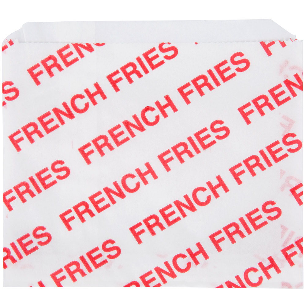 Carnival King 5 1/2 inch x 4 1/2 inch Large Printed French Fry Bag - 2000/Case