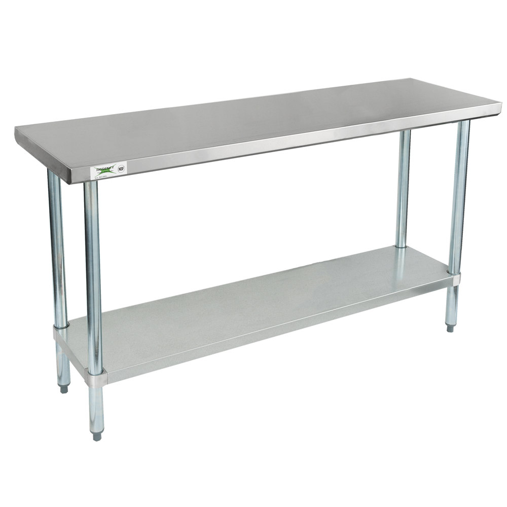 Regency 18 inch x 60 inch 18-Gauge 304 Stainless Steel Commercial Work Table with Galvanized Legs and Undershelf