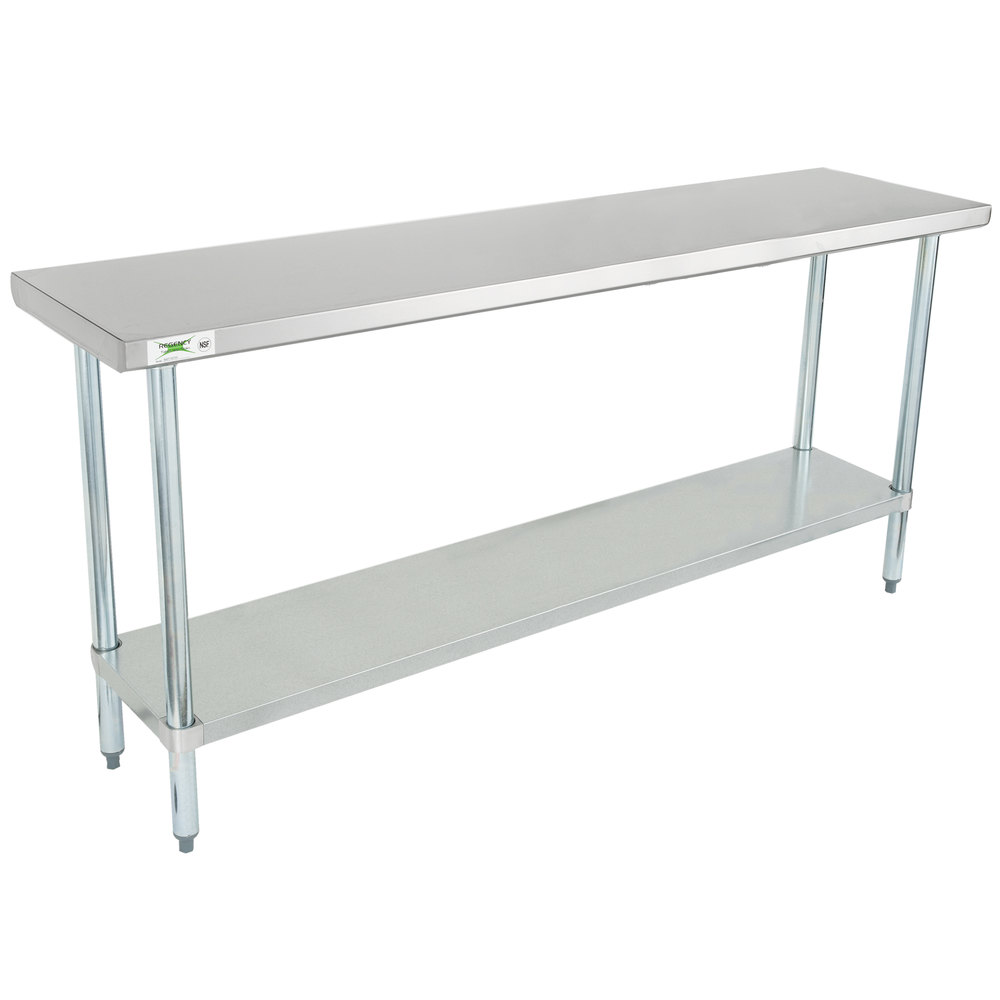 Regency 18 inch x 72 inch 18-Gauge 304 Stainless Steel Commercial Work Table with Galvanized Legs and Undershelf